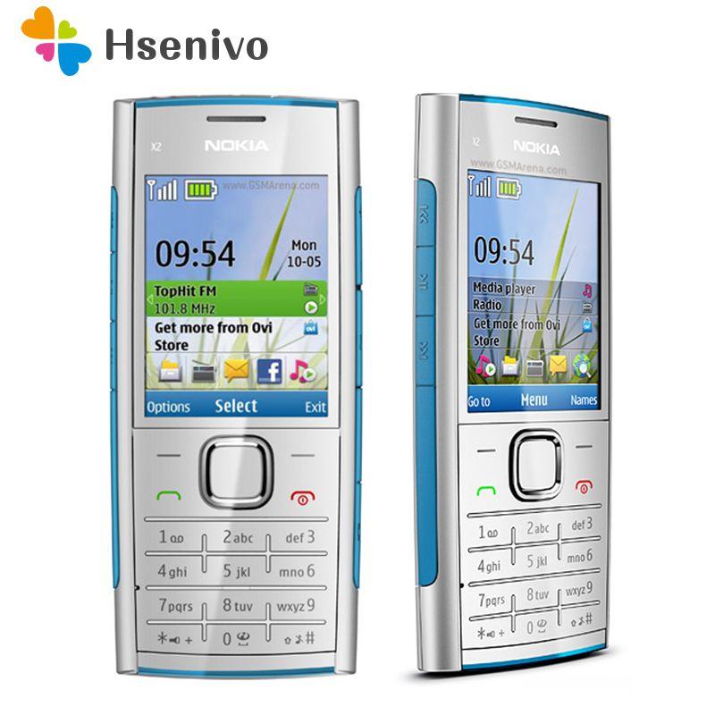 X2 D'origine Nokia X2-00 téléphone Bluetooth FM JAVA 5MP Débloqué Mobile Téléphone avec Anglais/Russie/Hébreu/Arabe clavier shipp Libre