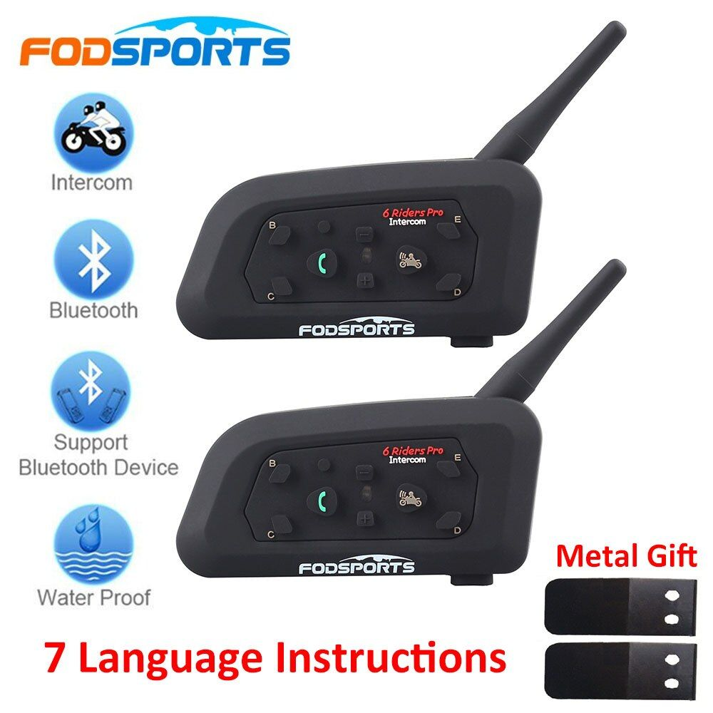 2018 Fodsports 2 pcs V6 Pro Motorcycle Helmet Bluetooth Headset <font><b>Intercom</b></font> 6 Riders 1200M Wireless Intercomunicador BT Interphone