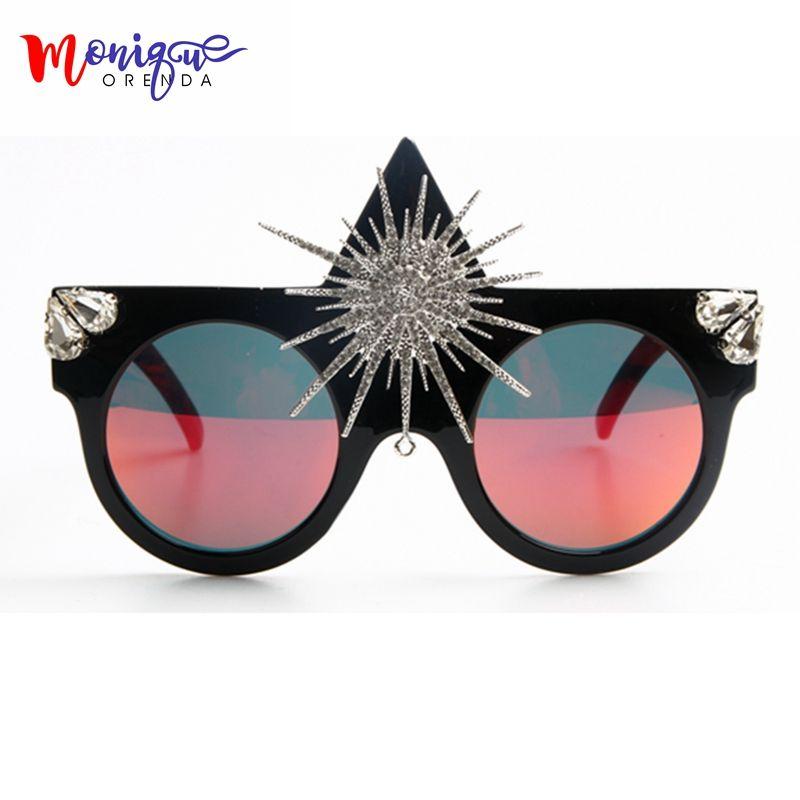 Marque Designer 2017 lunettes de Soleil Femmes Grand Soleil Fleur Reine Style De Luxe lunettes de Soleil Pour Les Dames Parti lunettes de Soleil Hommes