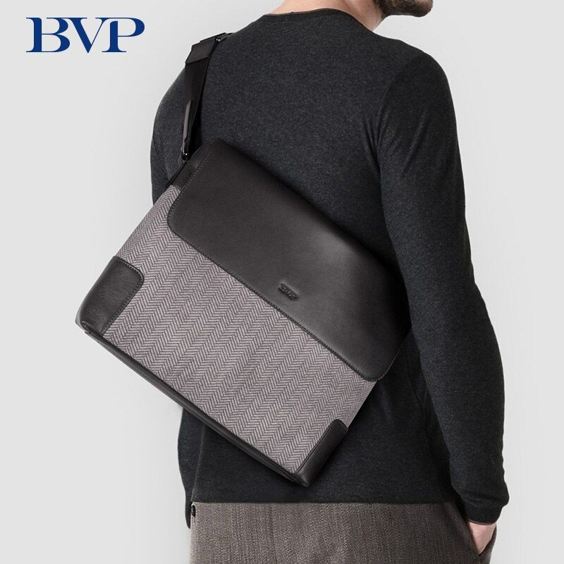 BVP Luxury Brand Designer High Quality Cow Leather Men Messenger England Style Fashion Male Shoulder Bag 12 inch Laptop Bag J50