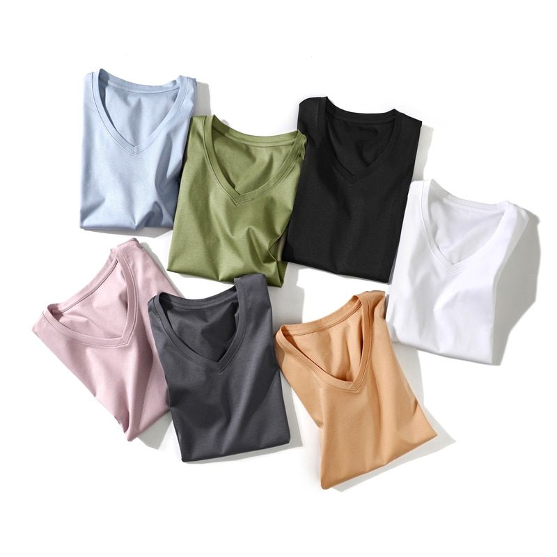 Jasmin Sammlung Hohe Anzahl Doppelseitige Mercerisierter Baumwolle Bunten V Kragen Kurzarm T-shirt