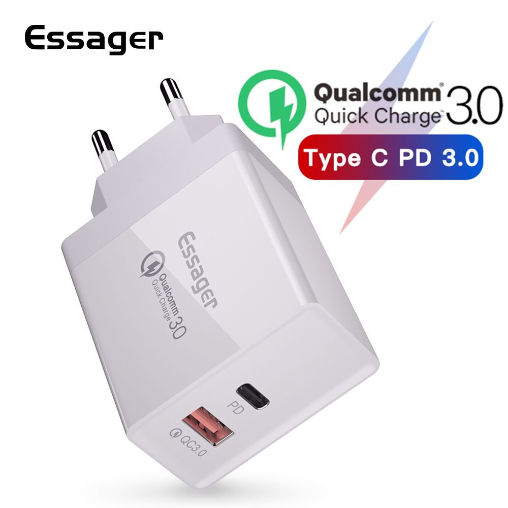 Essager 36W Quick Charge 3.0 USB Charger QC3.0 QC Type C PD Plug Turbo Fast Charging Wall Mobile Phone Charger For iPhone Xiaomi