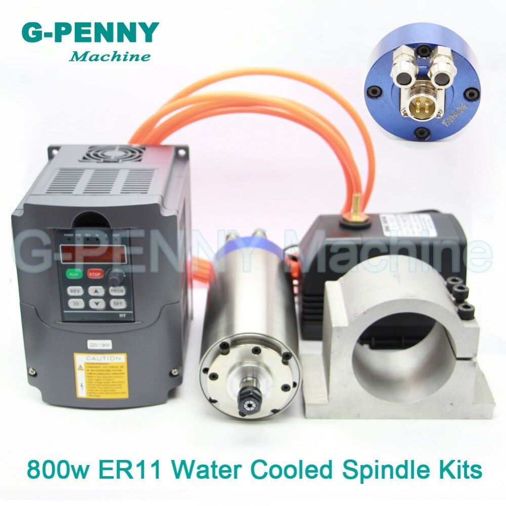 220V 800W ER11 CNC Water Cooling Spindle 65mm diameter Motor wood working Spindle & 1.5kw VFD & 65mm bracket & 75w water pump