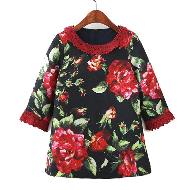 Girls Flower Dress Half Sleeve 2018 Spring Autumn Kids Dresses for Girls Clothes Robe Fille Children Lace Dress Princess Costume