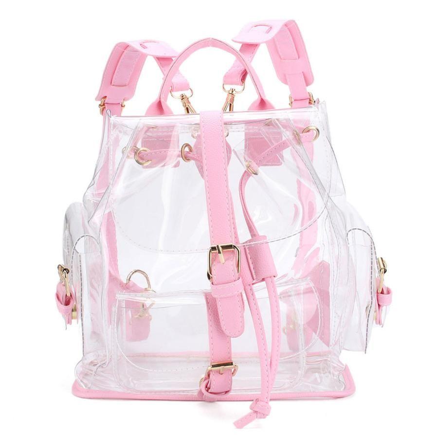 Women's Backpack Clear Plastic See Through Security Transparent Backpack Bag Ladies Travel Bag Ladies Bag mochila feminina
