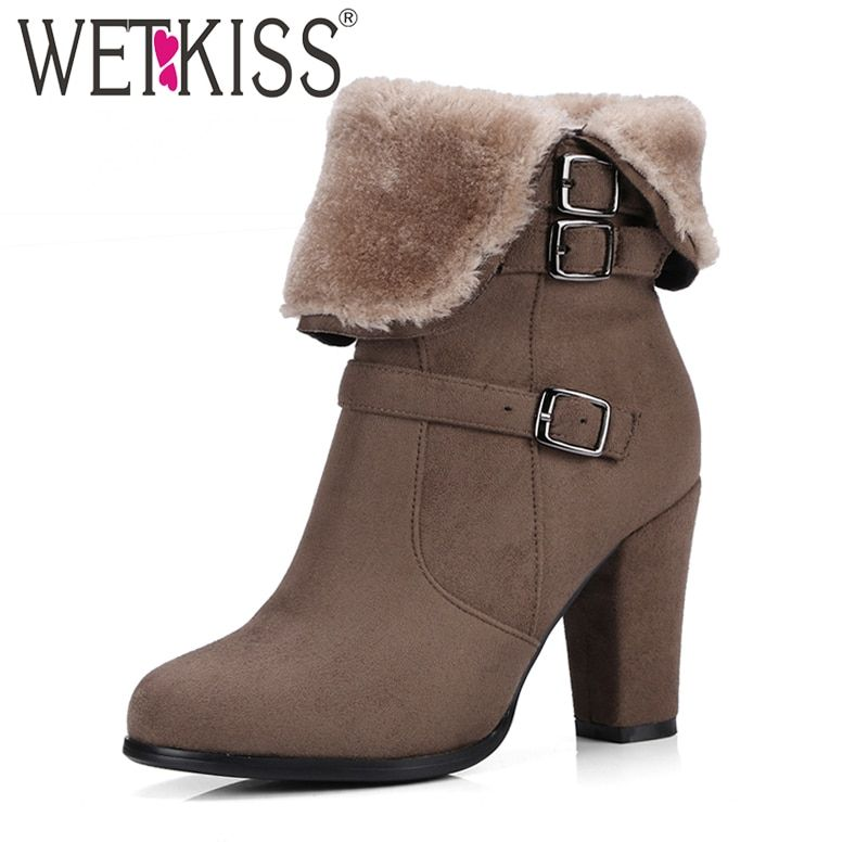 WETKISS Brand Thick Plush Snow Boots Women Warm Winter Boots Buckle Strap Side Zipper Thick High Heels Shoes Woman Ankle Boots