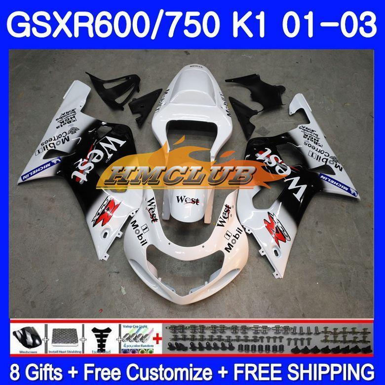 Körper Für SUZUKI GSX-R750 GSXR 750 K1 GSXR600 01 02 03 3HM. 25 weiß westen GSXR 600 01 03 GSXR-600 GSXR750 2001 2002 2003 Verkleidung