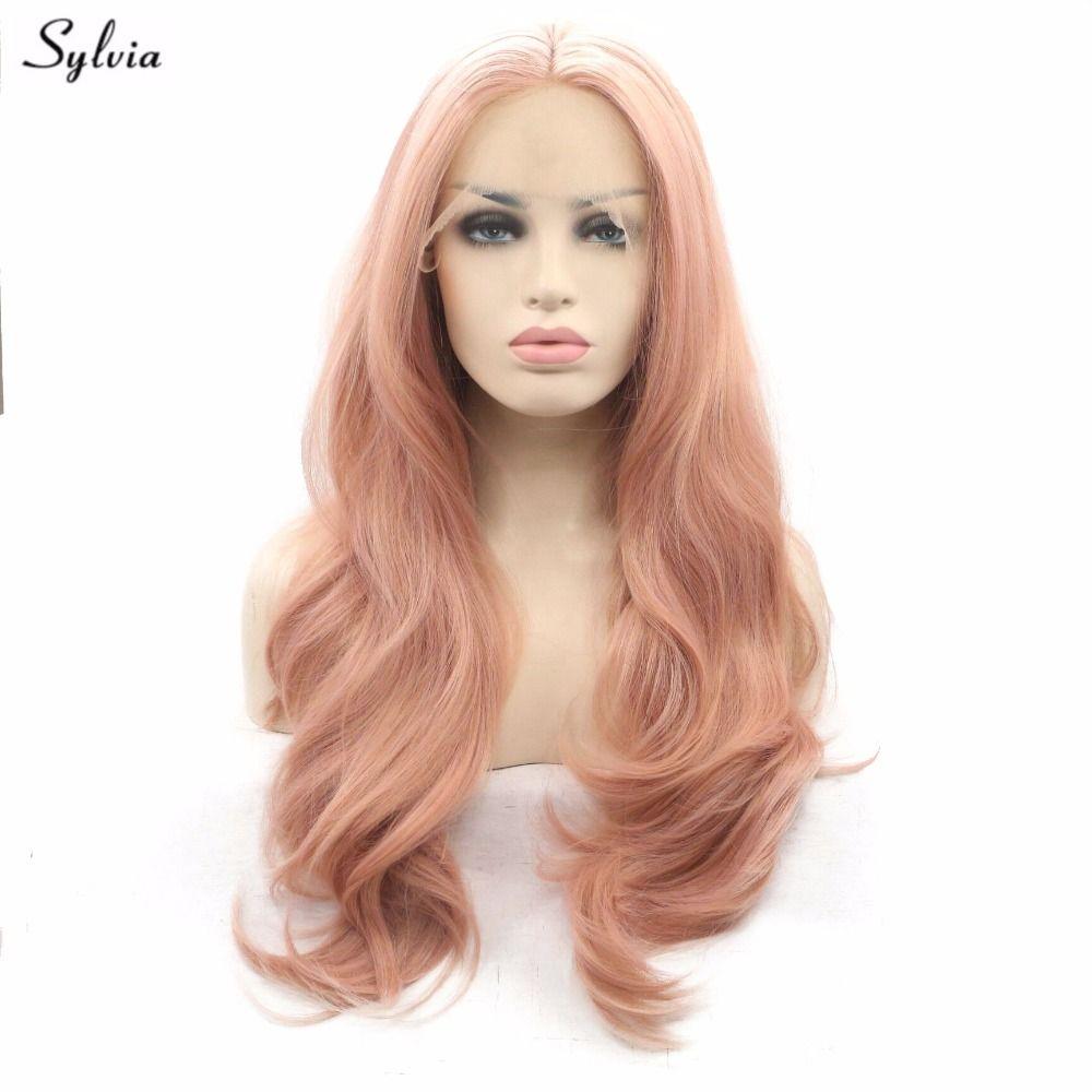 Sylvia розовое золото Цвет волос природа волна синтетический Синтетические волосы на кружеве Искусственные парики мягких пастельных розовог...