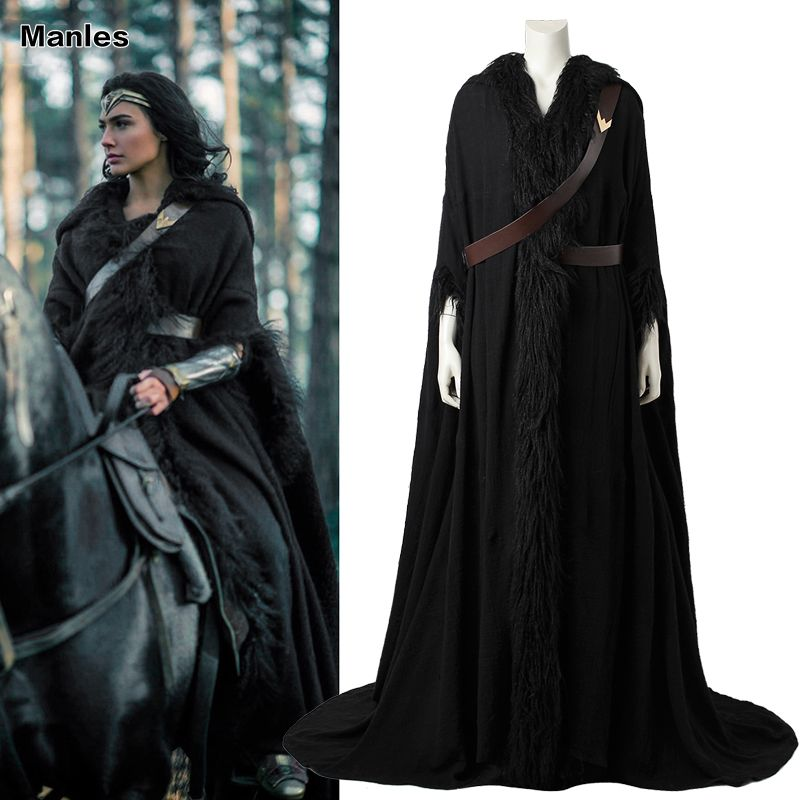 Wonder Woman Cosplay Cloak Diana Prince Costume Black Cape Halloween Costume Movie Superhero Clothing Adult Women Robe Customize
