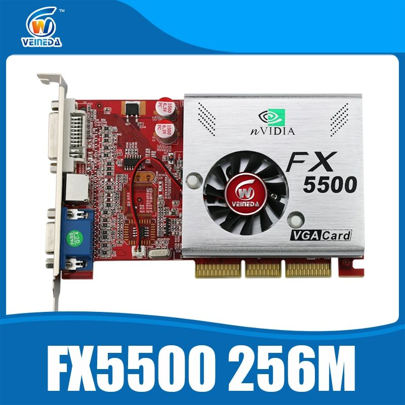 Grafikkarten AGP grafikkarte FX5500 256 mb 128bit ddr Agp-karte DVI/VGA/s-video