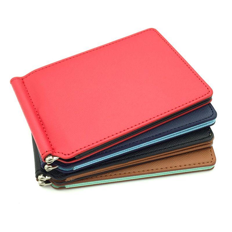 Heißer verkauf Mini PU leder geld-clip brieftasche für wowen mit kreditkartensteckplätze dünnen männer geldbörse mit metallklammer