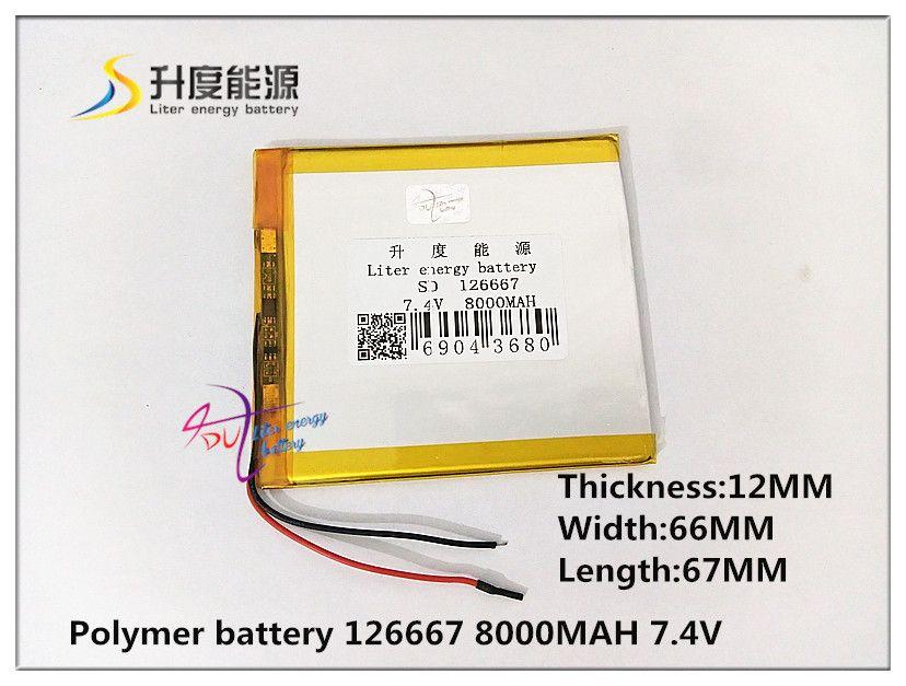 7,4 V 8000 mAH 126667 (polymer lithium-ionen-akku) für tablet pc E-BOOK mp4 handy lautsprecher