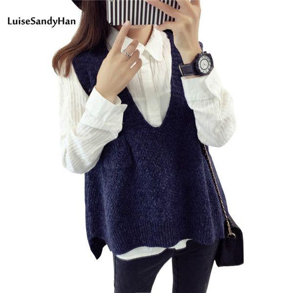 2017 Spring Autumn Wool Sweater Vest Women Sleeveless V-Neck Knitted Vests Long Sections Poullover Vest Female Jumper pull femme