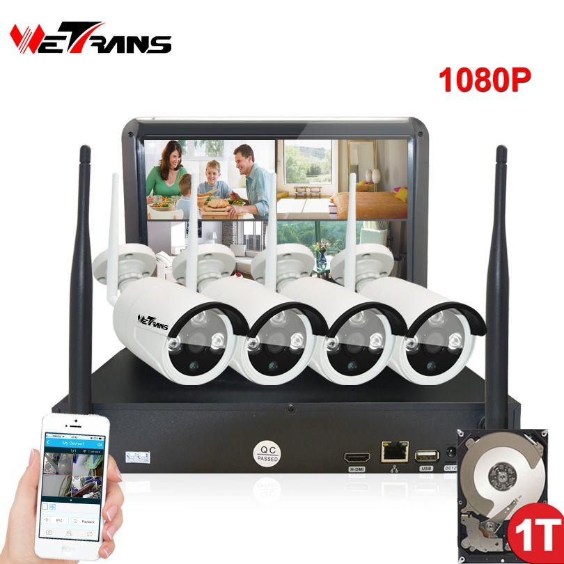 Wireless Security Kameras Home Überwachung System mit Monitor 10,1 zoll Stecker Spielen 20 mt Nachtsicht Im Freien Wifi IP Kamera kit