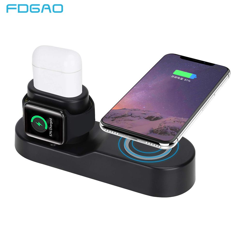 FDGAO 4 in 1 Wireless Charger Pad For Apple Watch 3 2 iPhone X XS Max XR 8 AirPods 10W Fast Wireless Charging For Samsung S9 S8