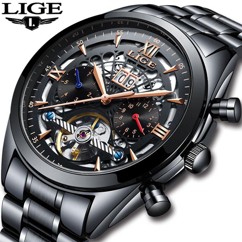LIGE New Mens Watches Top Brand Luxury Men's Tourbillon Mechanical Watch Men Fashion Business Waterproof Watch Relogio Masculino