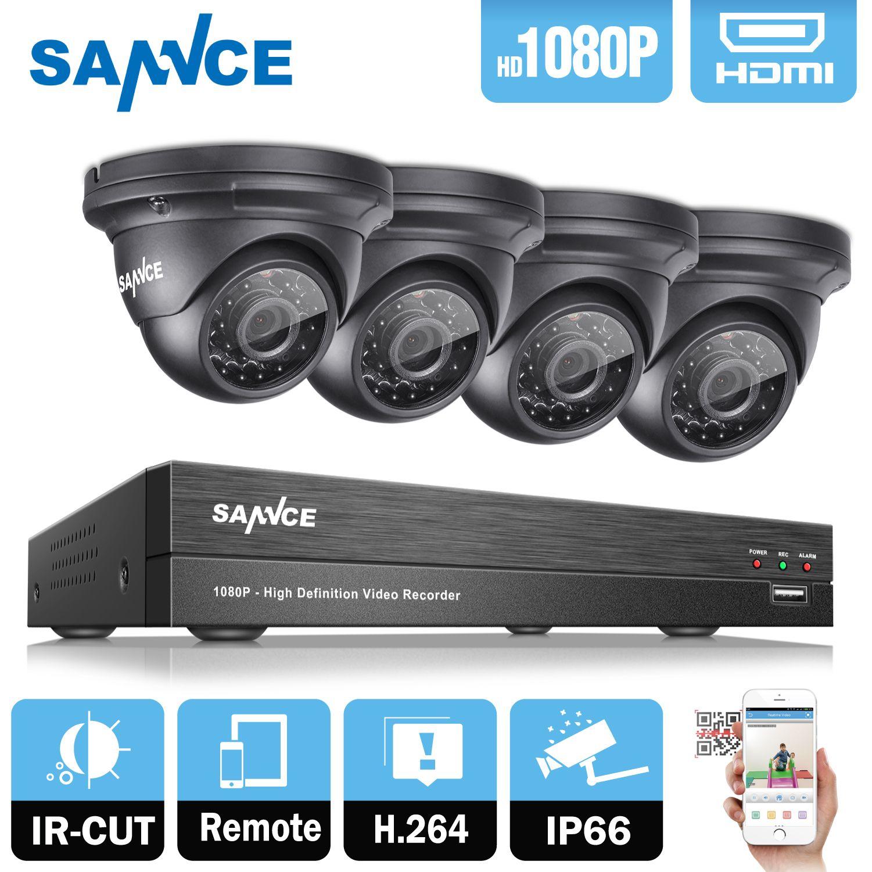 SANNCE 8CH 2MP 1080 P HD DVR AHD Surveillance Kit 4 STÜCKE 1080 P 2MP Dome Home Security Kamera CCTV System Ovif