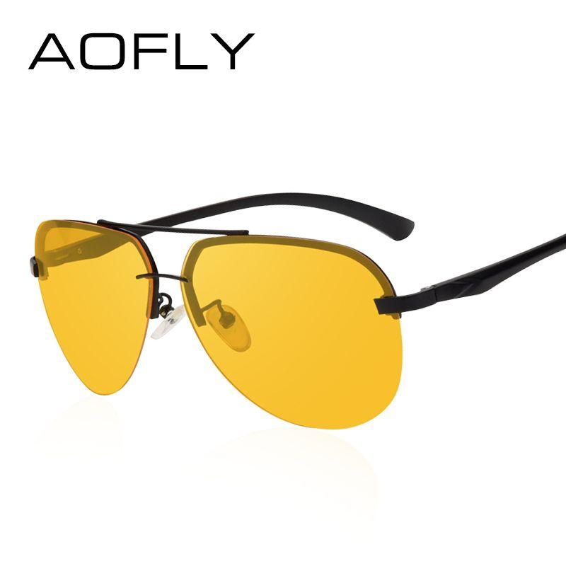 AOFLY Nueva Llegada Amarillo Polarizadas Gafas de Sol Sin Montura Hombres Mujeres Gafas de Visión Nocturna Gafas de Conducción de Metal Piernas Gafas AF8053