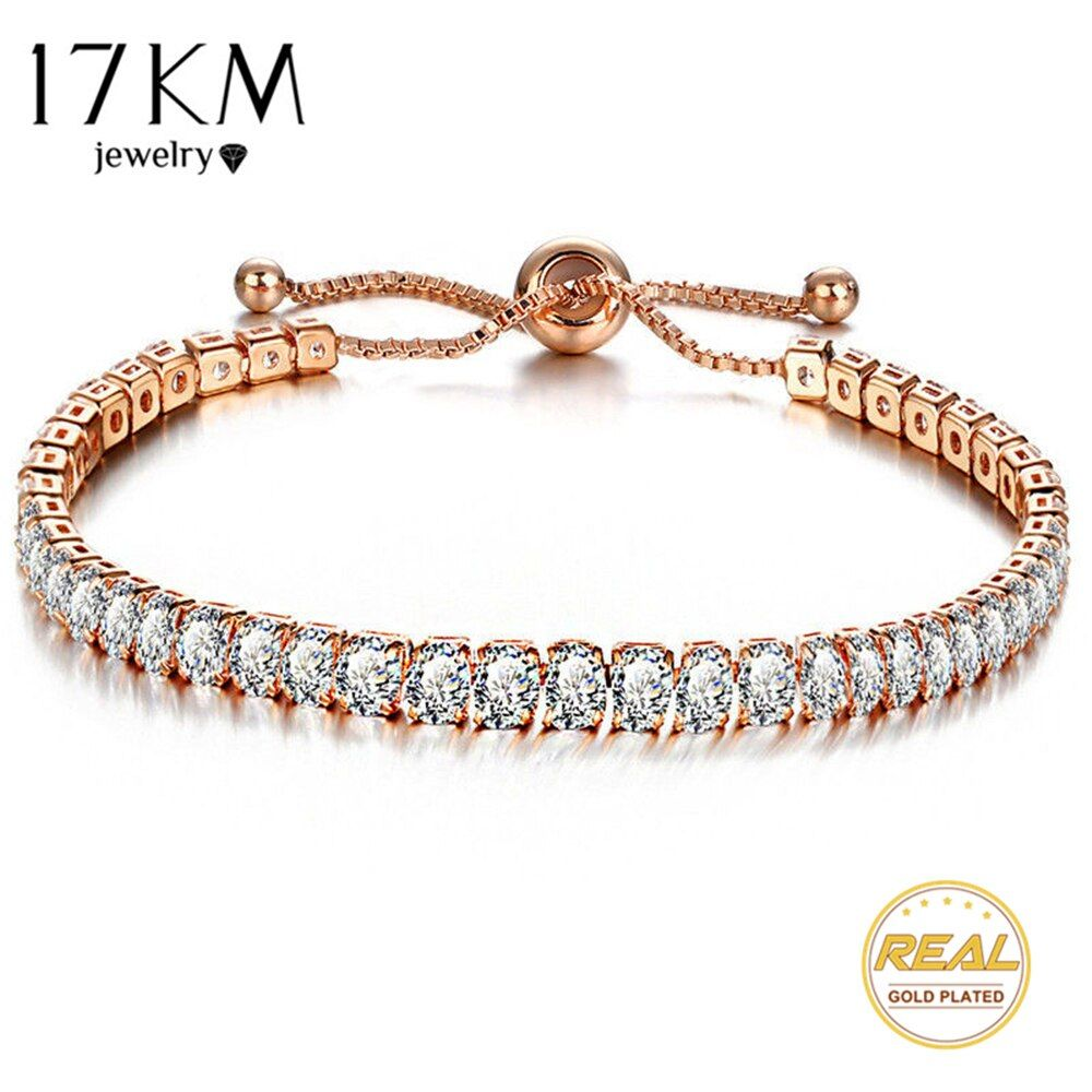 17KM Fashion Cubic Zirconia Tennis Bracelet & Bangle Adjustable Pulseras Mujer Charm Bracelet For Women Bridal Wedding Jewelry