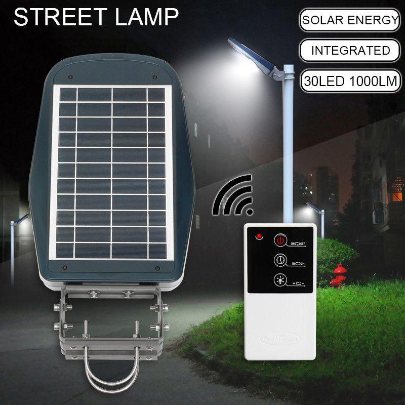 Mising 30 LED Solar Street Wall Light Outdoor Lamp Post Area Lighting Batteries Remote Garden Security Light