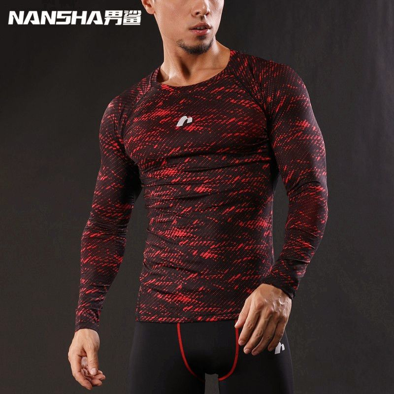 2019 Newest 3D Print Long Sleeve T Shirt Fitness Men Bodybuilding Crossfit NANSHA Brand Compression Shirts Clothing M-XXL
