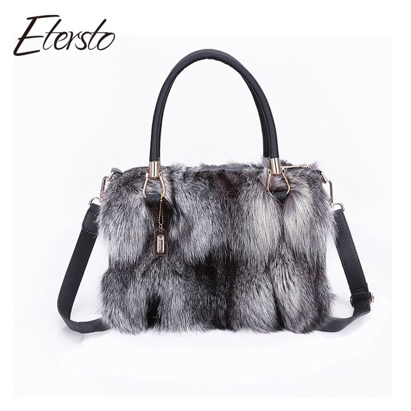 Etersto 2017 New Arrival Women Real Silver Fox Fur Messenger Bags Female Real Fur Handbag Real Fur Bag Ladies Crossbody Bags