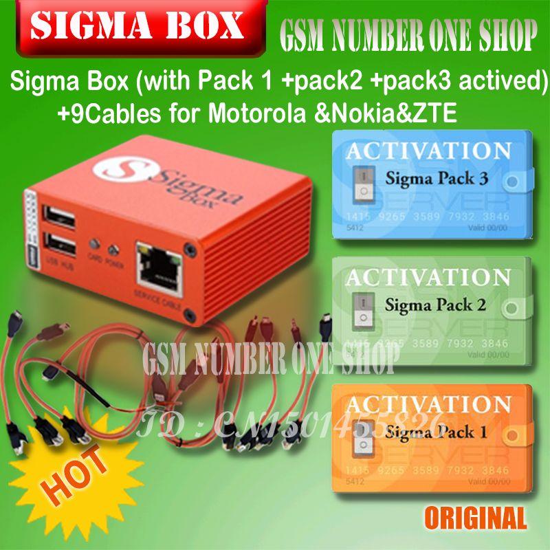 2018 die Neueste Sigma Box mit Kabel Set + Sigma Pack 1, 2, 3 aktivierungen für MTK-basierend Motorola Alcatel Huawei ZTE Lenovo