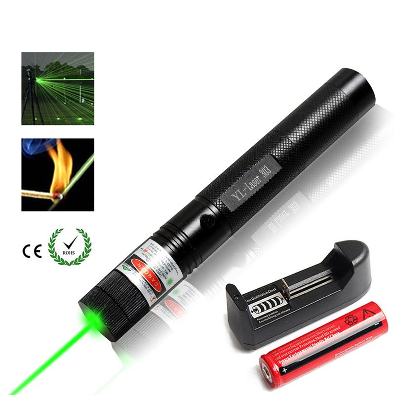 Pointeur Laser vert militaire 532nm 5 mw 303 pointeur Laser vert stylo vert étoile de ciel brûlant le Match de brûlure de faisceau avec le chargeur de batterie 18650