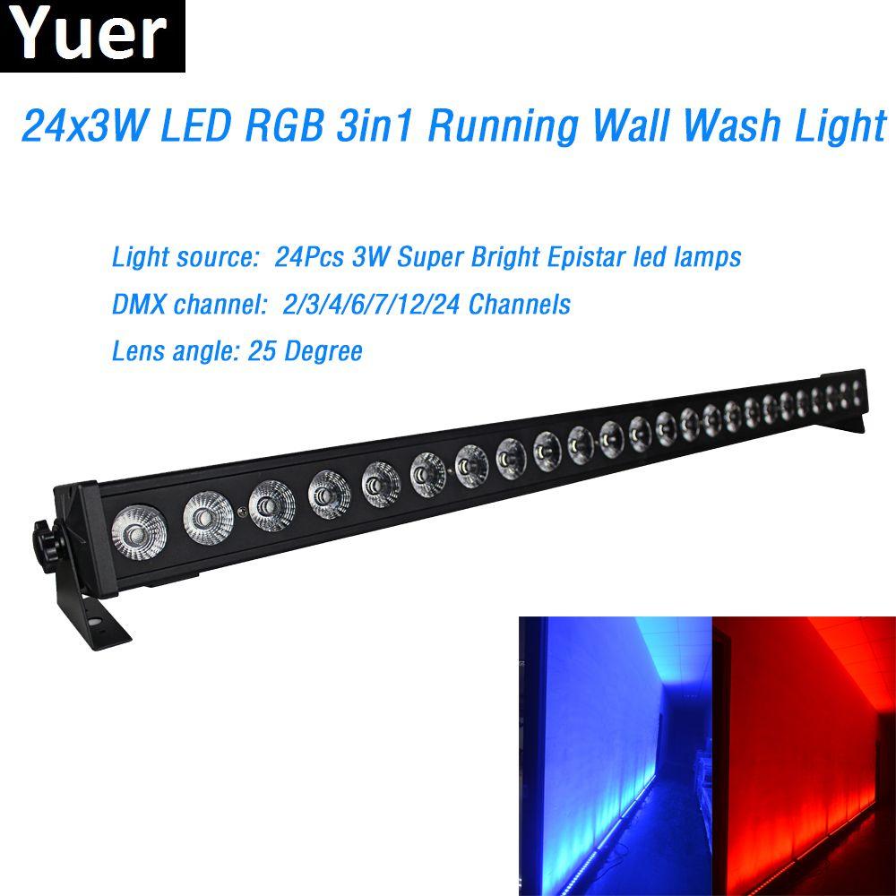 24x3w RGB 3IN1 Led Wall Washer Licht DMX Waschen Bar Led lampe 2/4/6 /7/12/24 kanäle 25 Grad Objektiv winkel für Bühne Party Disco DJ