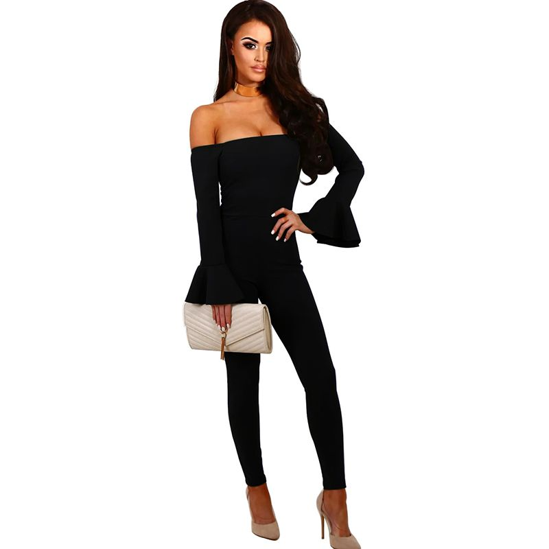Spring Off Shoulder Sexy Jumpsuit Women Rompers Autumn Flare Sleeve Slim Bodycon Jumpsuit Women Playsuits WS2784T