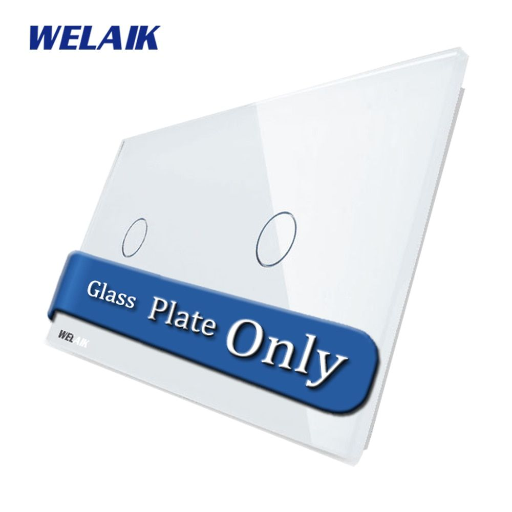 WELAIK Touch Switch DIY Parts Glass Panel Only of Wall Light Switch Black White Crystal Glass Panel 1Gang+1Gang A2911W/B1