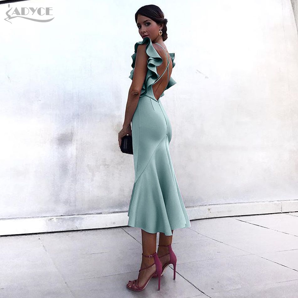 Adyce Celebrity Party Dress Summer Women Dress Vestidos Verano 2018 Violet Ruffles Butterfly Sleeveless Backless Mermaid Dresses