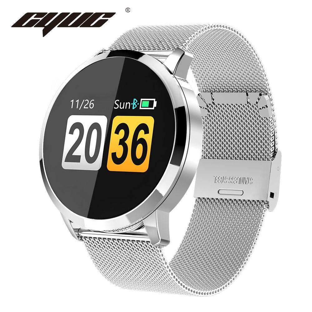 CYUC Q8 montre intelligente OLED couleur écran hommes mode Fitness Tracker moniteur de fréquence cardiaque pression artérielle oxygène podomètre Smartwatch connectée for Apple android OS APP support français