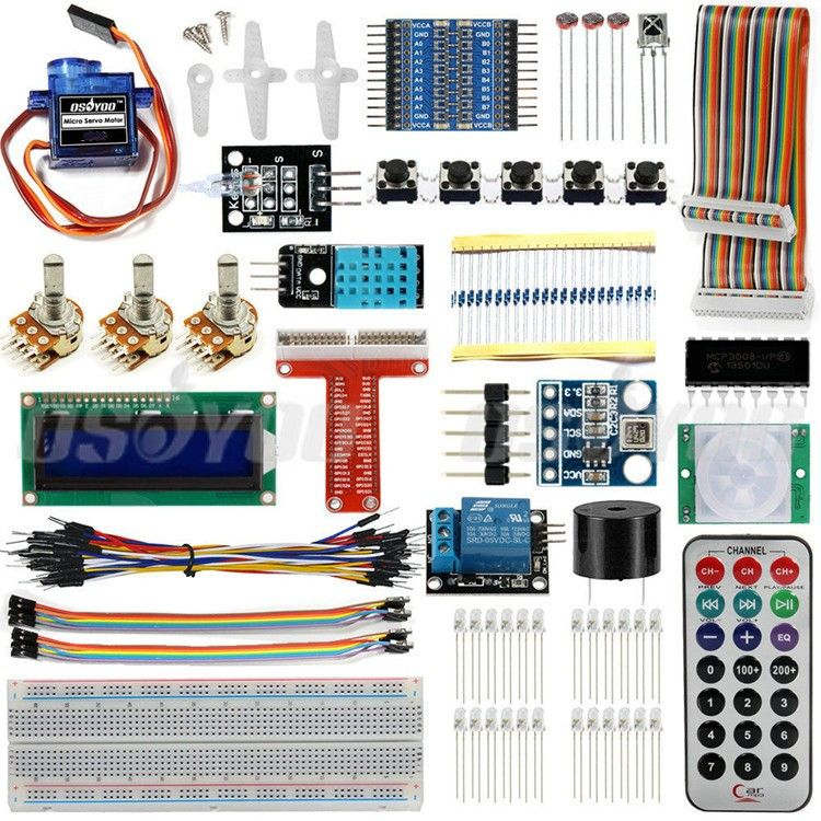 Raspberry Pi 3 Starter Kit Ultimate Inclinada Suite HC-SR501 Sensor de Movimiento 1602 LCD Servo SG90 LED Relé Resistencias