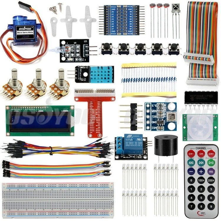 Raspberry Pi 3 Starter Kit Ultimate Leaning Suite HC-SR501 Motion Sensor 1602 LCD SG90 Servo LED Relay Resistors
