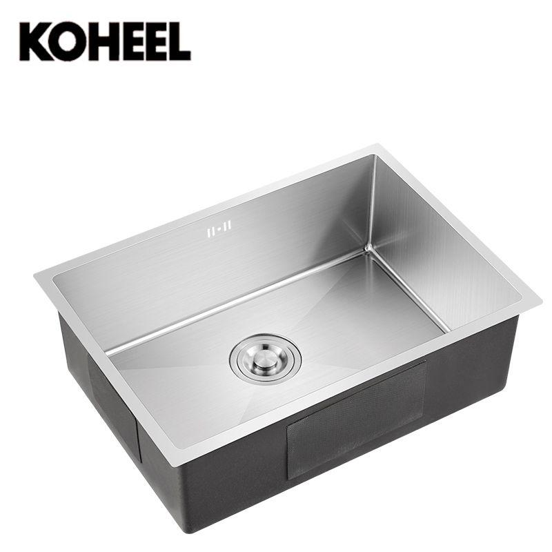 Küche spüle unterbau Handgemachte gebürstet nahtlose 304 edelstahl einzigen schüssel Zeichnung abtropffläche schweißen waschbecken große waschen gerichte