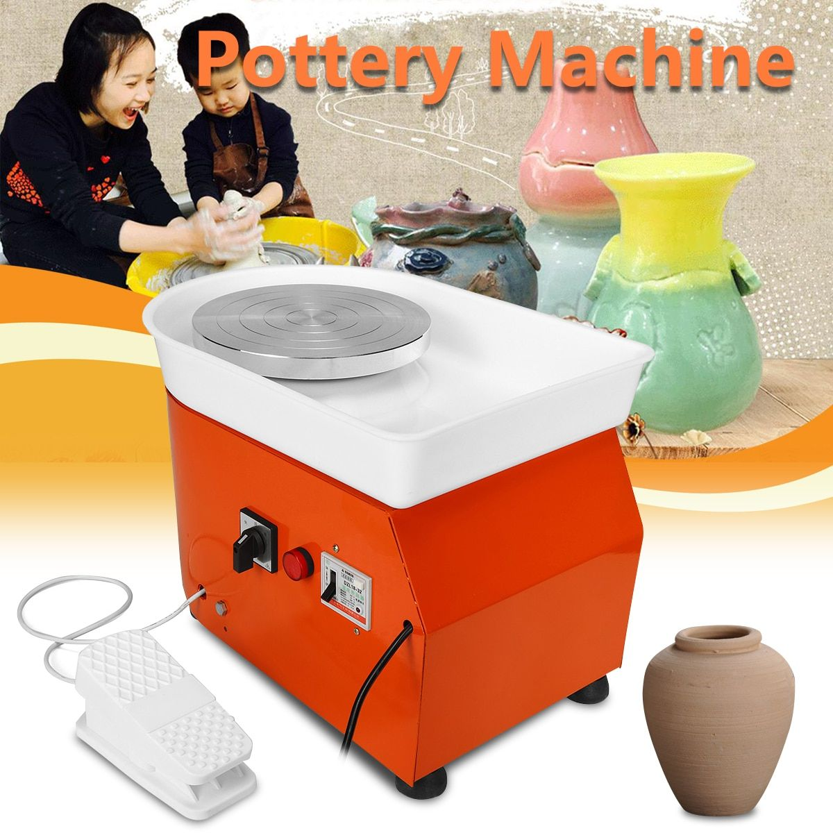 Flexible Foot Pedal Pottery Wheel Machine 25cm AC 220V 250W Ceramic Work Ceramics Clay Art EU/AU/US With Mobile Smooth Low Noise