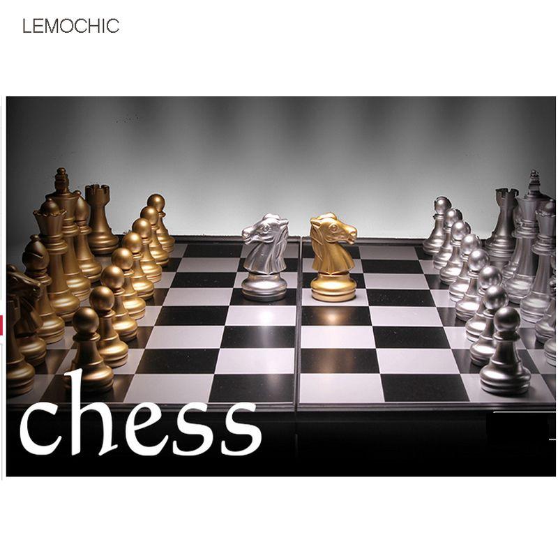 Lemochic магнитные шахматы серебро и золото штук шахматы складные магнитная доска складная доска бесплатная доставка настольные игры для семь...