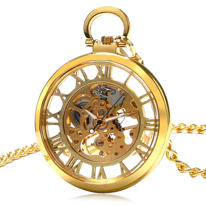 Special Gollden Pocket Watch Women Transparent Skeleton Open Face Design Watches Men Hour with 30cm Chain P1039C