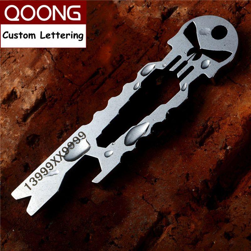 QOONG punisseur EDC multi-fonction outil porte-clés avec clé pied de biche tournevis décapsuleur squelette porte-clés porte-anneau H03
