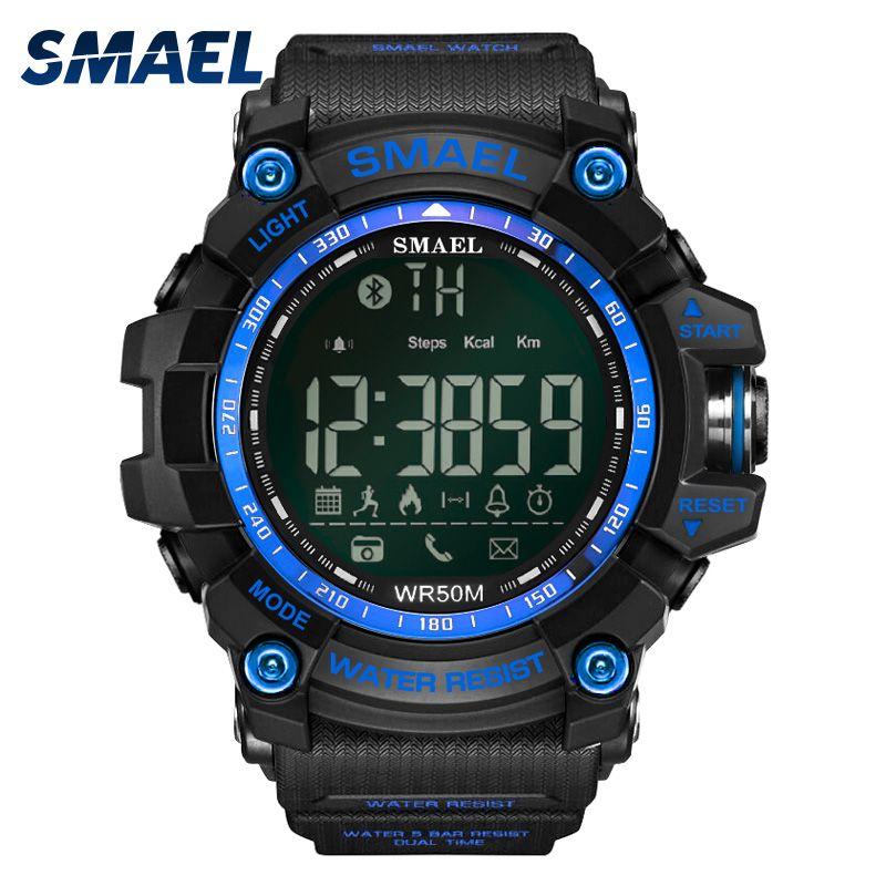 SMAEL android ios Bluetooth Smart Watch Men Waterproof Sport Wrist 1617B Military Relogio Masculino LED Smart Digital Watches