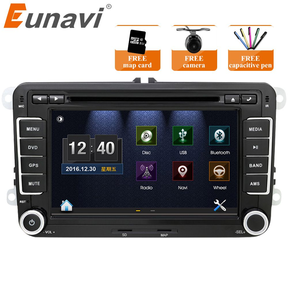 Eunavi 7'' 2 Din Car DVD Player Radio GPS Navigation For VW Golf Polo Jetta Touran Mk5 Mk6 Passat B6 2din Stereo Bluetooth SWC