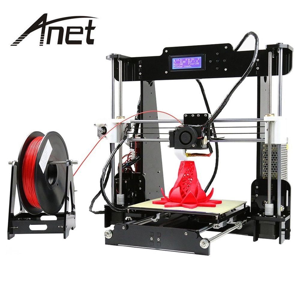 Anet A8 3D Color Printing Printer Large Printing Size Precision Reprap 3 DIY 3D Printer kit 3 Materials LCD Filament