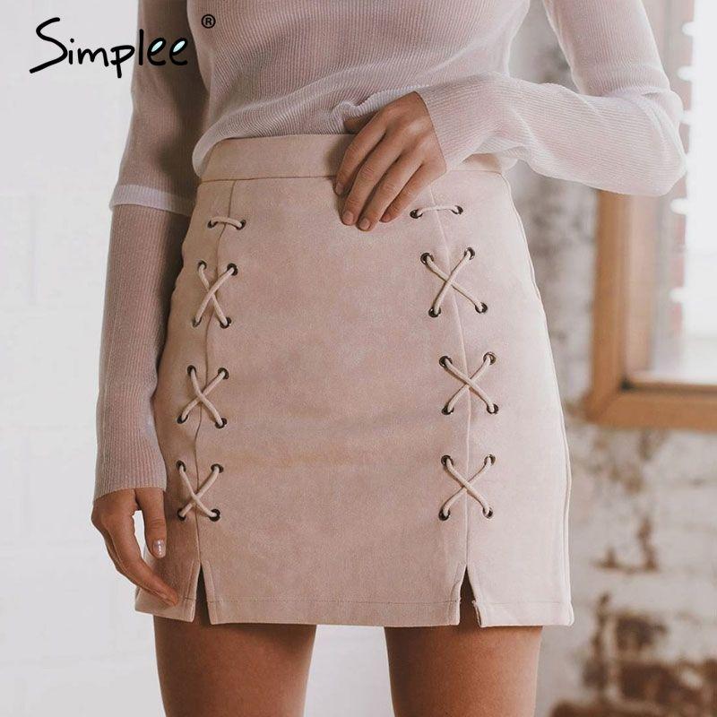 Simplee Autumn lace up <font><b>leather</b></font> suede pencil skirt Winter 2017 cross high waist skirt Zipper split bodycon short skirts womens