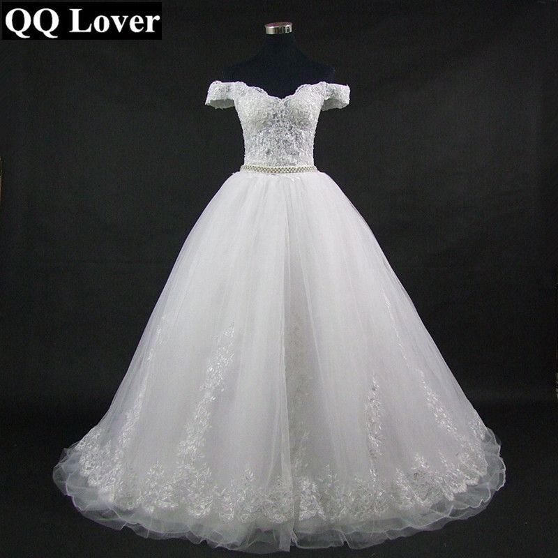 QQ Lover 2018 New Boat Neck Wedding Dress Appliques Vestido De Noiva Custom-made Plus Size Wedding Gown Bridal Dress