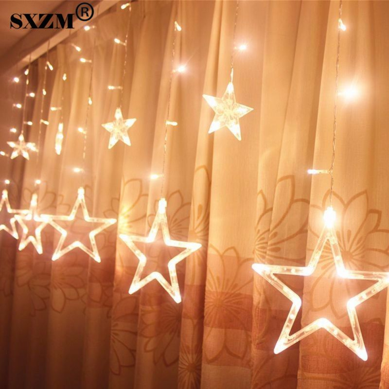 SXZM 2.5M 96leds Fairy Star LED Curtain String light AC220V EU Christmas Romantic Lighting For Holiday Wedding Garland Party