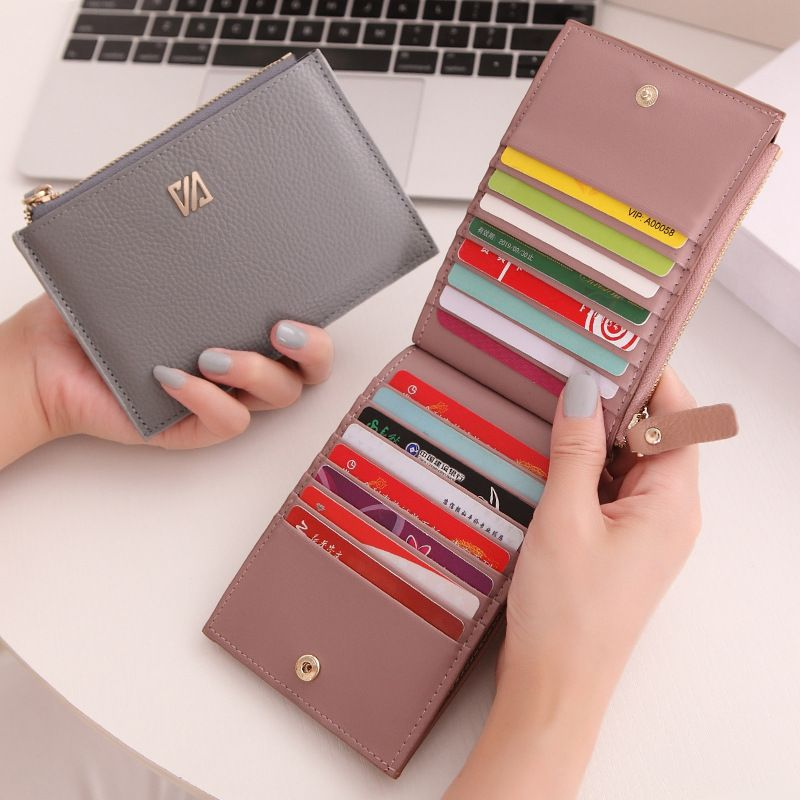 16 Card Slots Genuine Leather Women Card Holders Fashion Brand Women Leather Card Wallet Female Credit Card Holders Business
