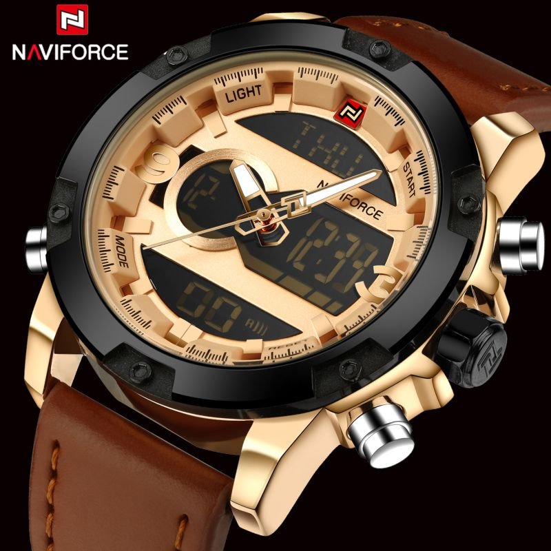 Top Brand Naviforce Fashion Men Leather Military Watch Men's Quartz Analog Led <font><b>Sport</b></font> Waterproof Wrist Watch relogio masculino