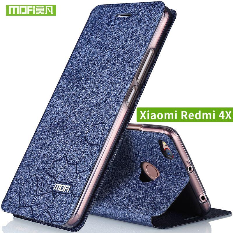 Xiaomi Redmi 4X Cas couvercle Rabattable en cuir Xiami Redmi 4x Cas Silicone TPU retour D'origine MOFi redmi4x cas en métal dur 5.0 capas