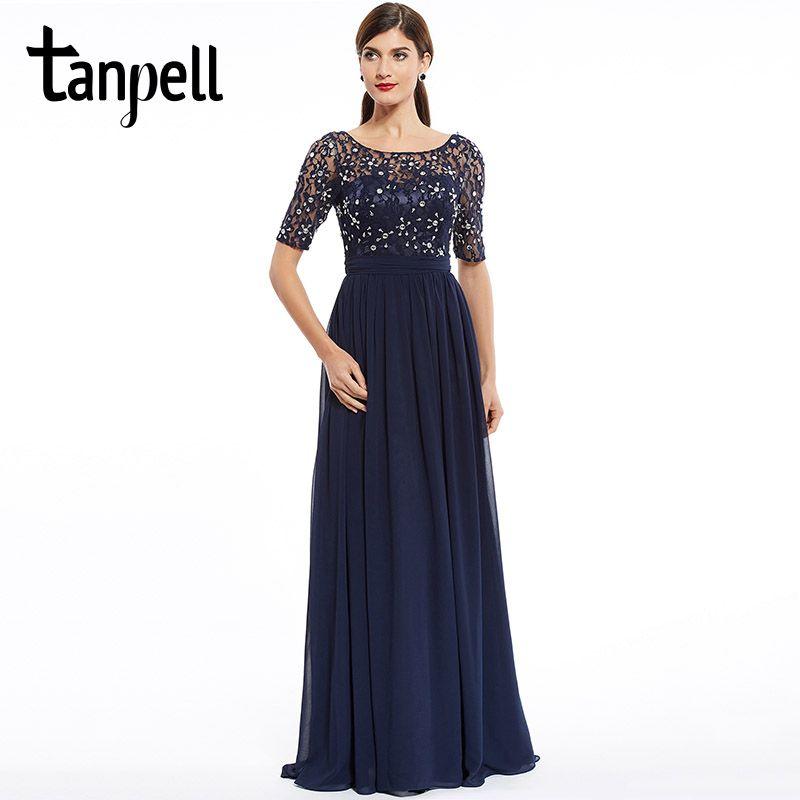 Tanpell fashion evening dress cheap dark navy scoop a line floor length dress chiffon half sleeves beaded lace long evening gown